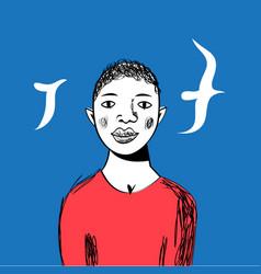 Portrait an african boy vector