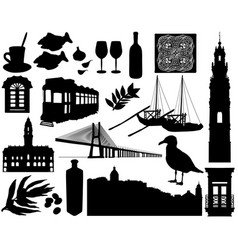 portugal silhouettes set vector image