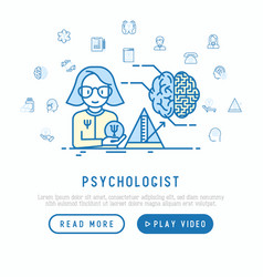 psychologist at work concept with thin line icons vector image