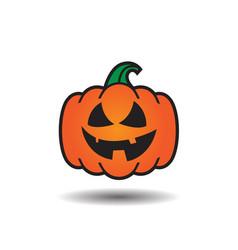 Pumpkin jack o lantern smile icon vector