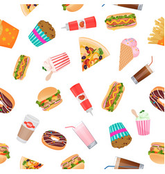 Realistic flat seamless pattern of fast food vector