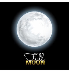 Realistic Volume 3d Full Moon on Black Dark vector