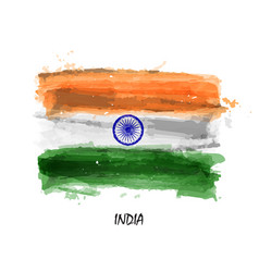 Realistic watercolor painting flag of india vector