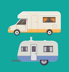 retro camper trailer collection car trailers vector image