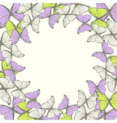 Round frame with decorative butterflies Ornament vector image