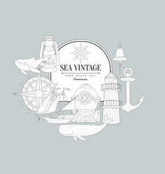 Sea Themed Vintage Sketch vector image
