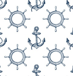 Seamless pattern with hand drawn anchors and vector image