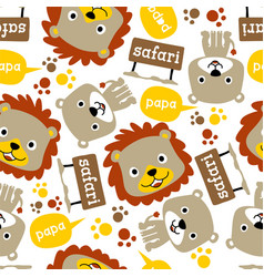 seamless pattern with safari animals cartoon lion vector image