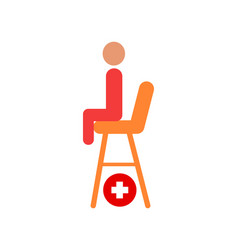 Seat of lifesaver on beach cartoon icon vector