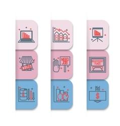 Set icons on a theme of economic crisis vector image
