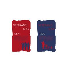 Set of brochure poster templates in veterans day vector