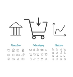 Set of finance and online payments icons vector image