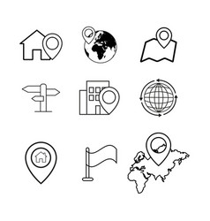 Set of novigation pinpointer icons vector