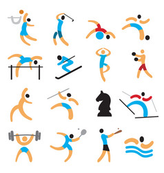 set simple sport icons vector image