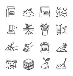 Set soil line icon agriculture vector