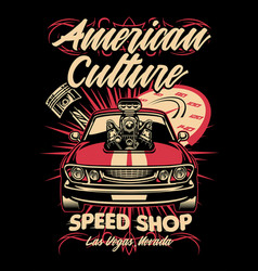 shirt design american muscle car speed shop vector image