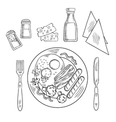 Sketch of tasty cooked dinner on a plate vector