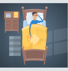Sleeping young man in bed vector