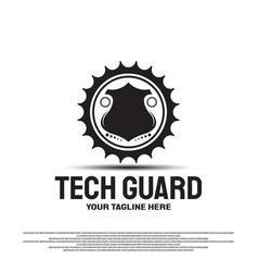 Technology guard logo design with concept vector