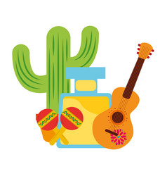 tequila drink cactus maracas and guitar mexican vector image