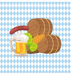 three beer barrels and snacks vector image