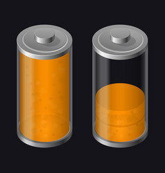 Transparent glass battery low charging orange vector