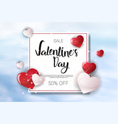 Valentine day sale concept template poster holiday vector