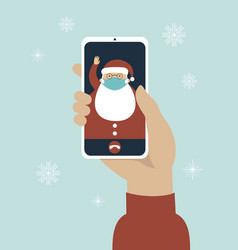 Video call on screen with santa claus vector
