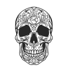 Vintage monochrome sugar skull vector