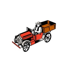 Vintage Pick Up Truck Driver Woodcut vector image