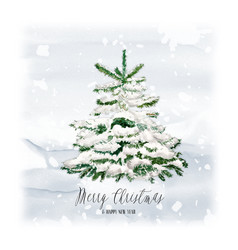 watercolor christmas tree with bunny and snow vector image