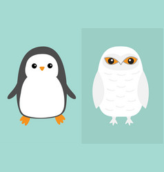 white snowy owl penguin bird icon set sitting vector image