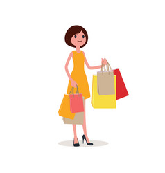 woman shopping in paper bags flat style vector image