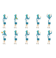 Young muslim cleaner set vector