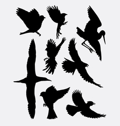 Bird flying animal silhouette 2 vector image vector image