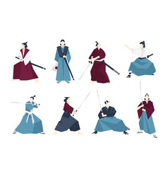 collection of samurai standing in different vector image vector image
