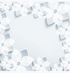 Floral frame with grey 3d flowers sakura vector image vector image
