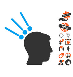 head test connectors icon with valentine bonus vector image vector image