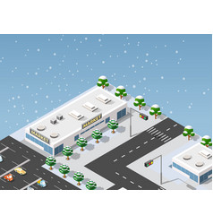 isometric supermarket city vector image