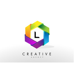 l letter logo corporate hexagon design vector image
