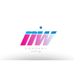 nw n w alphabet letter combination pink blue bold vector image vector image