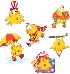 Set of cute chickens for your design Cartoon vector image vector image