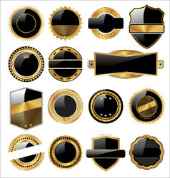 set of empty black and gold labels vector image vector image