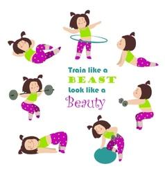 Workout fitness girls vector