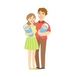 young parents holding newborn twins in arms vector image vector image