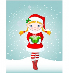 Christmas girl in snow vector image vector image
