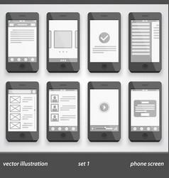 flat phone screen set 1 vector image