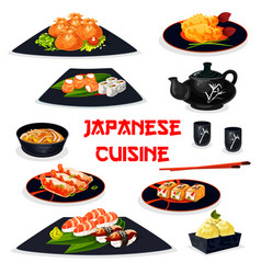 japanese cuisine icon of traditional asian food vector image vector image