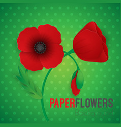paper flower realistic style of red vector image vector image