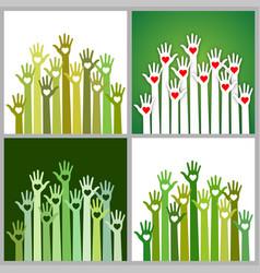set of green volunteers caring up hands hearts vector image